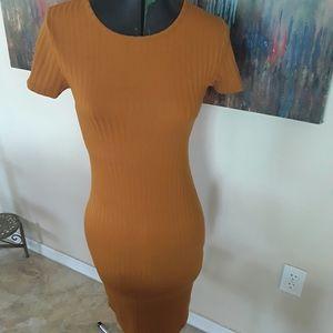 Forever 21 Mustard/Tan Knee length dress